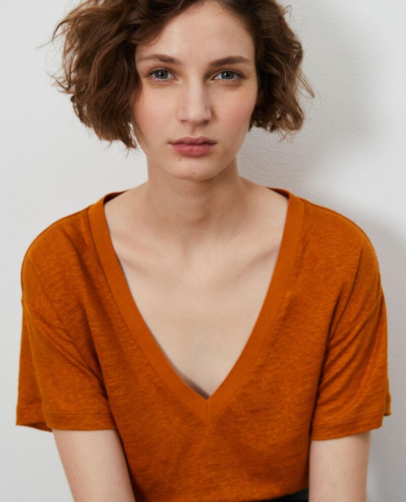 Linen V-neck t-shirt Pumpkin spice Locmelar