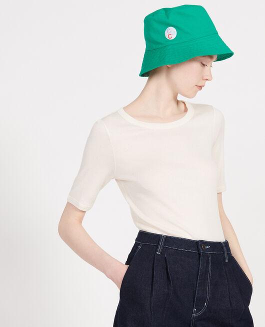 Mercerised cotton T-shirt BUTTERCREAM