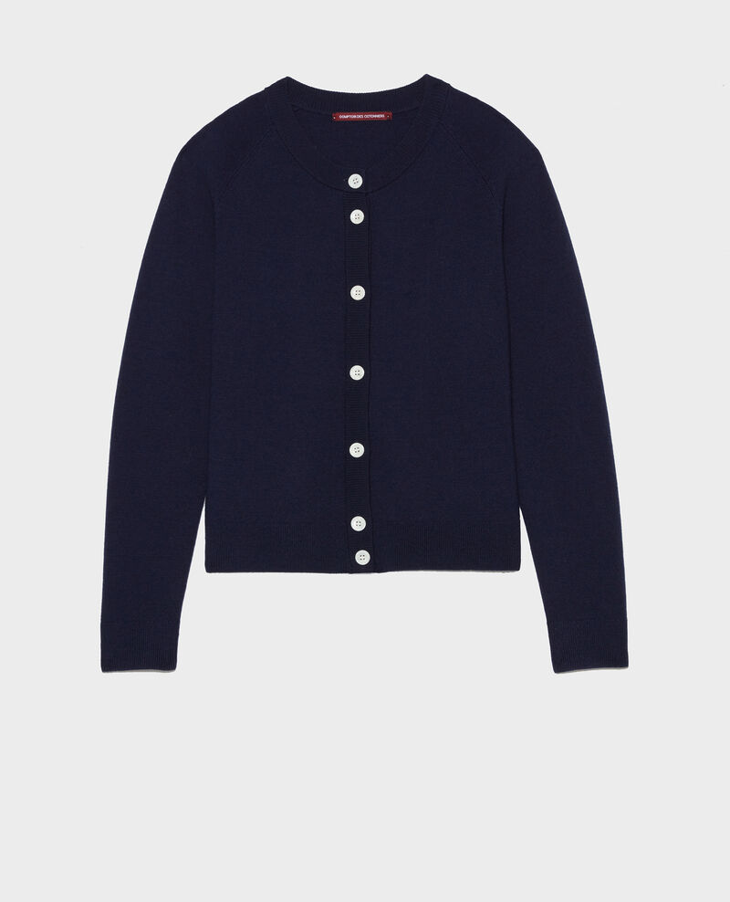 Classic wool cardigan Maritime blue Louvres
