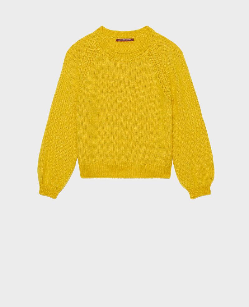 Loose boatneck wool jumper Lemon curry Mombrier