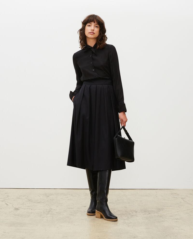 Long-sleeve tie neck silk blouse Black beauty Margueray