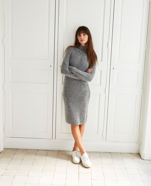 Long knitted dress MIDDLE GREY