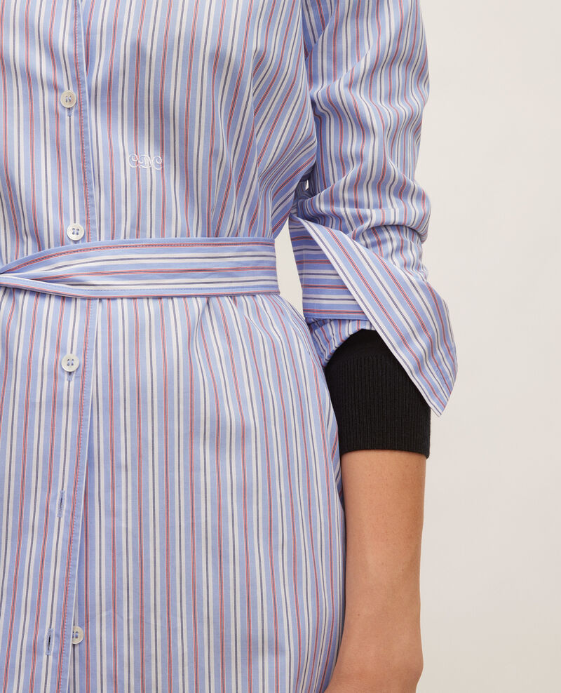 Cotton belted shirt dress Popeline stripes Lenka
