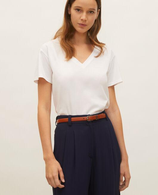 V-neck cotton t-shirt OPTICAL WHITE