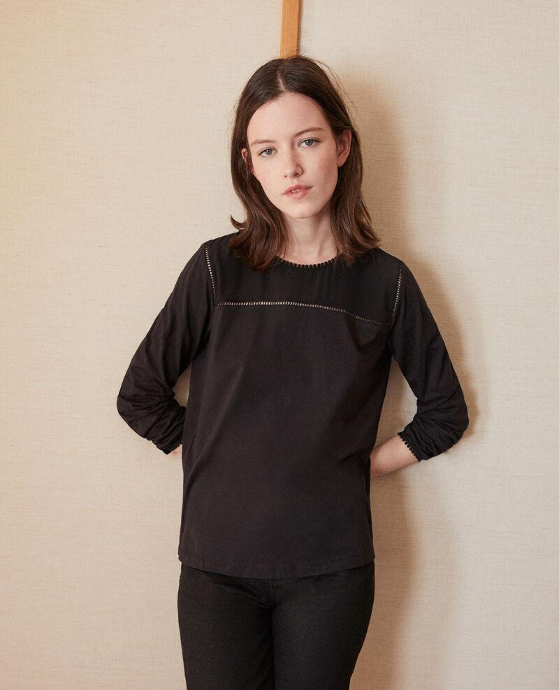 Bimaterial T-shirt with pompom details Noir Glivoire