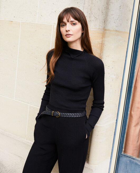Jumper with buttons on the collar 100% Merino Wool NOIR
