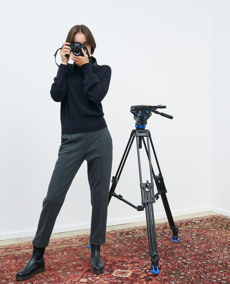 MARGUERITE trousers, wool adjustable 7/8 pants Dark grey chine Pevy