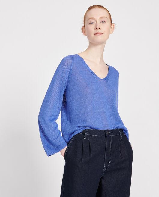Linen jumper AMPARO BLUE