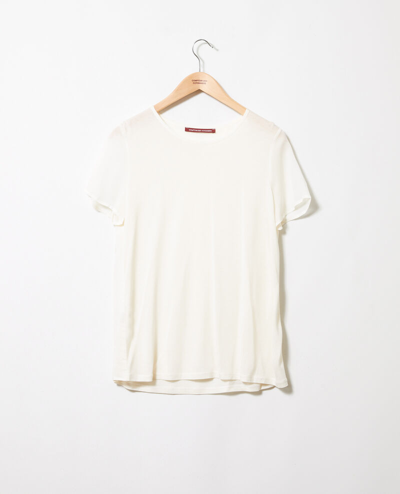 Bimaterial T-shirt Off white Jabelle