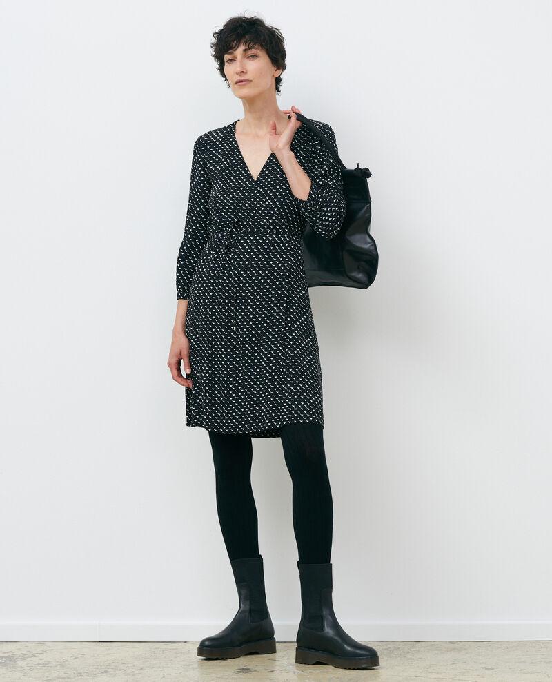 Printed wrap dress Birdy black Piremonta