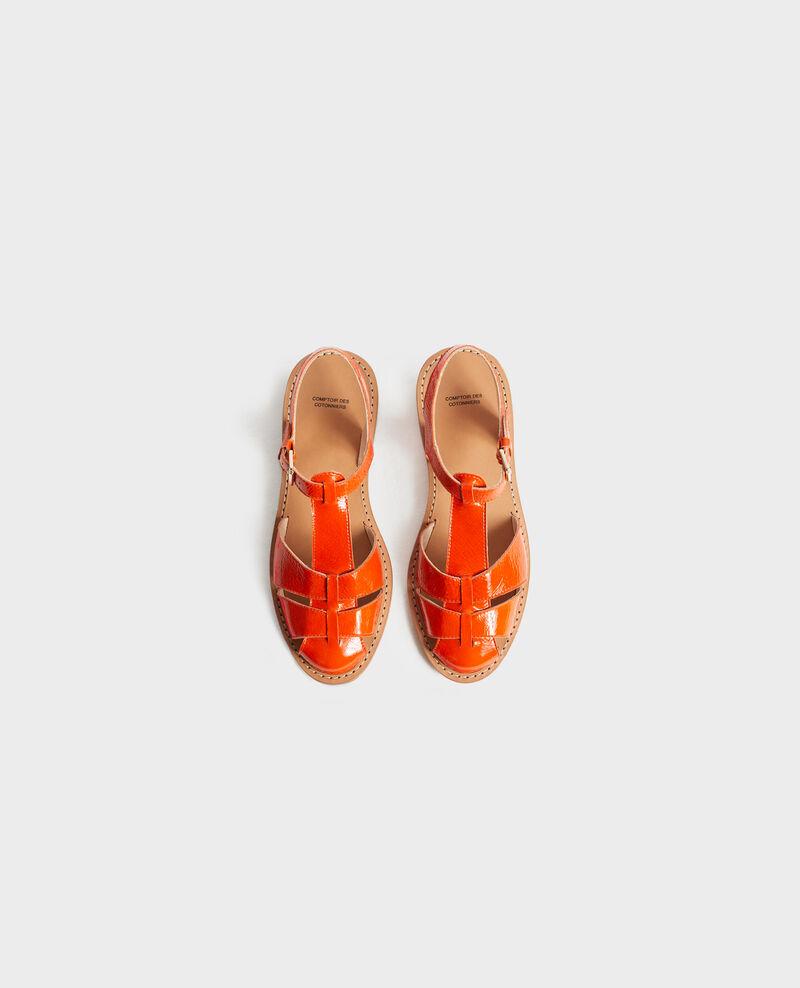Patent leather sandals Spicy orange Lapiaz