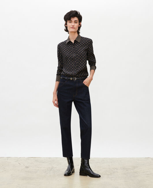 High-waisted straight 5 pocket bleached jeans. DENIM RINSE