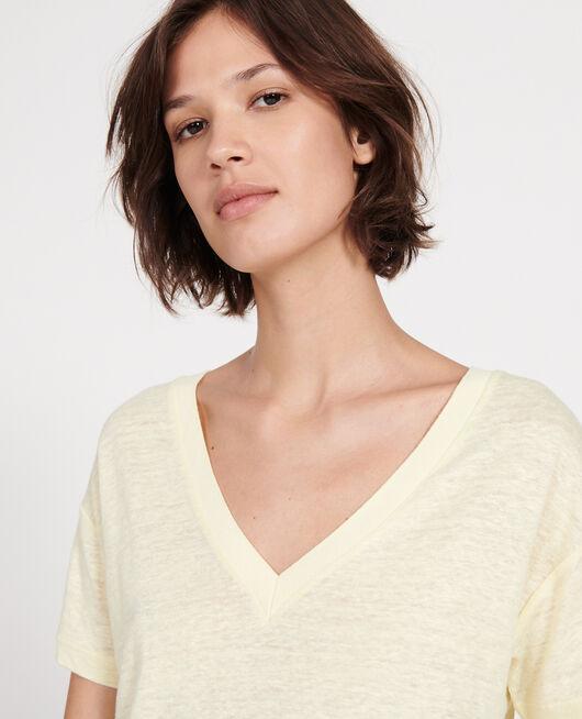 Linen jersey t-shirt TENDER YELLOW