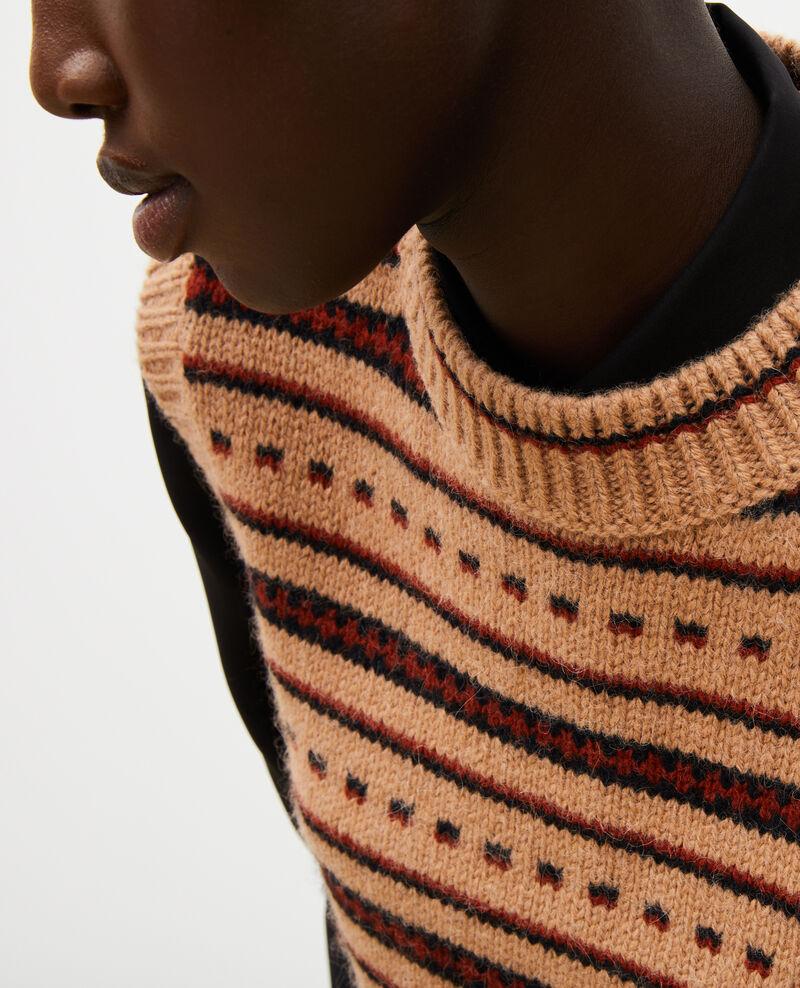 Sleeveless alpaca wool jacquard jumper Jacquard taupe black brandybrown Moiran