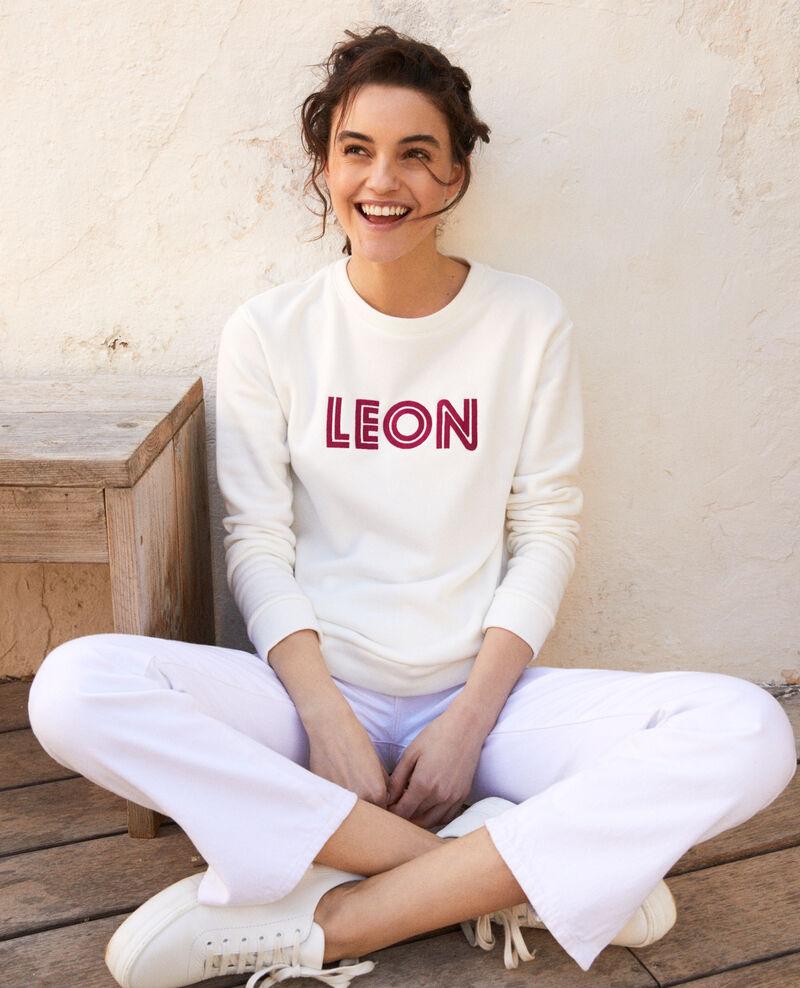 Embroidered Léon sweatshirt Ow/fushia Igleon