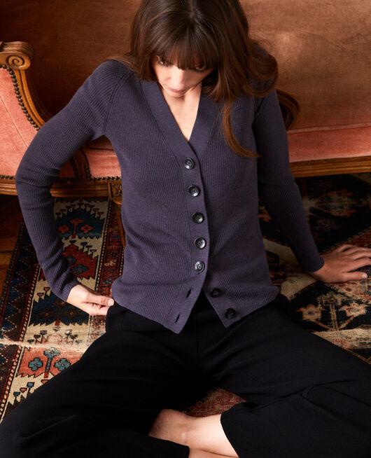 Classic cardigan 100% Merino Wool ODYSSEY GRAY