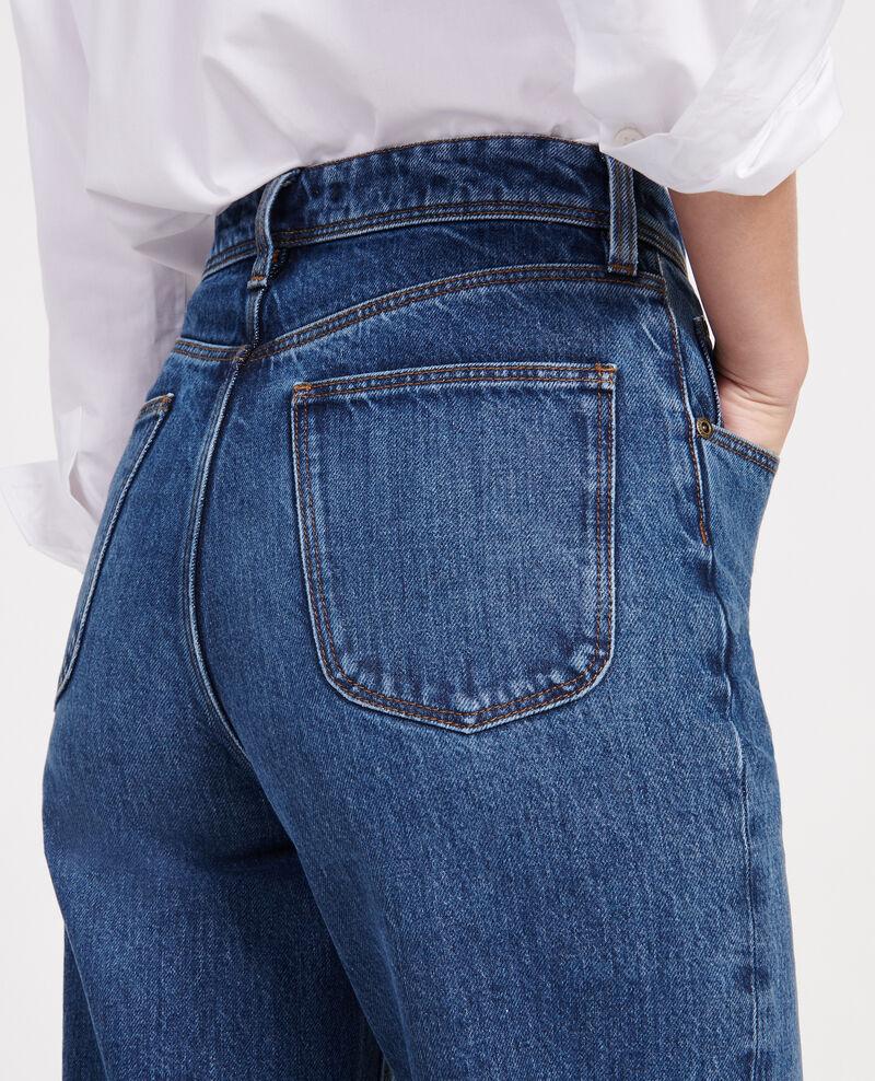 Straight-cut high-waisted jeans Denim medium wash Leodou