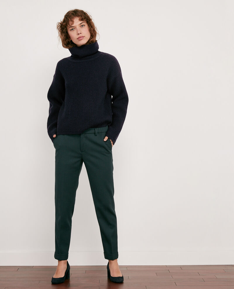 Wool blend casual trousers Deep green Dlanelle