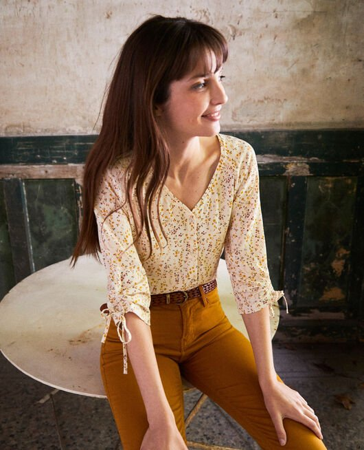 Printed blouse DAPHNE BUTTERCREAM