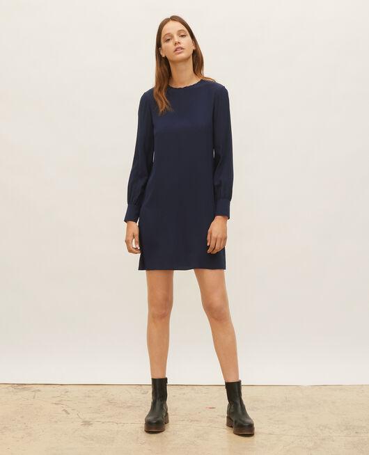 Loose mini silk dress. MARITIME BLUE