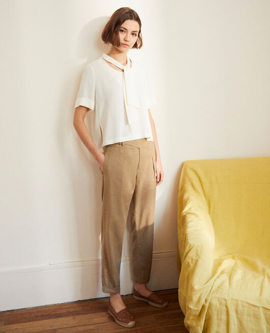 Linen blend trousers NATURAL BEIGE