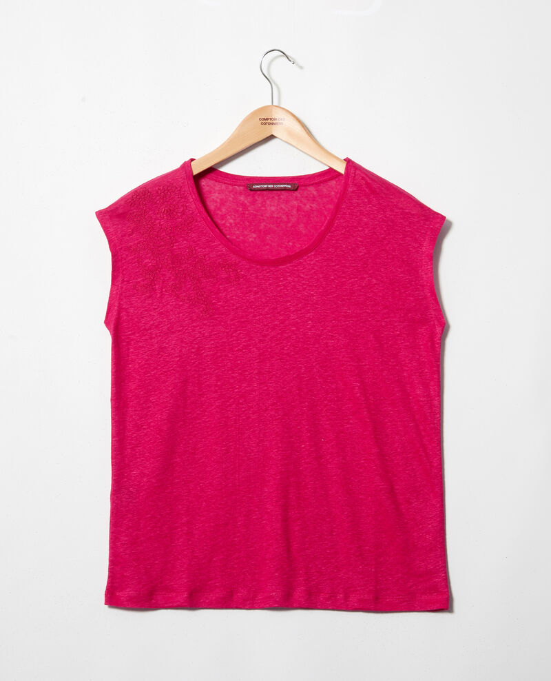 Embroidered linen T-shirt Fushia Imomo