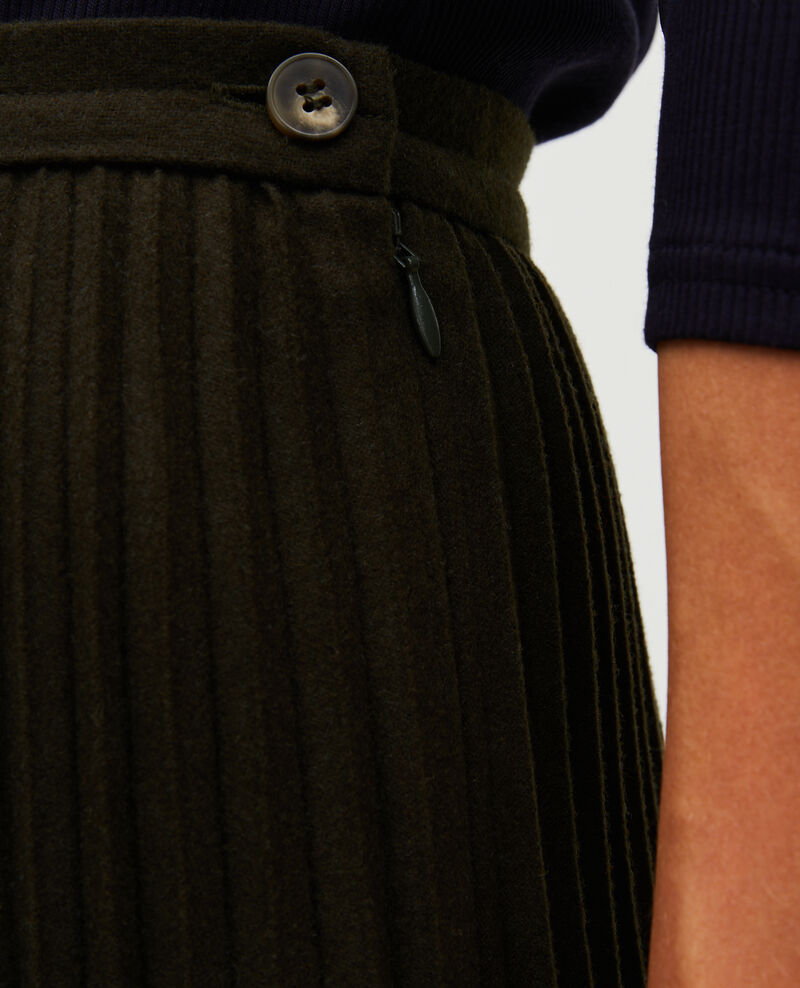 Pleated wool skirt Military green Mareille