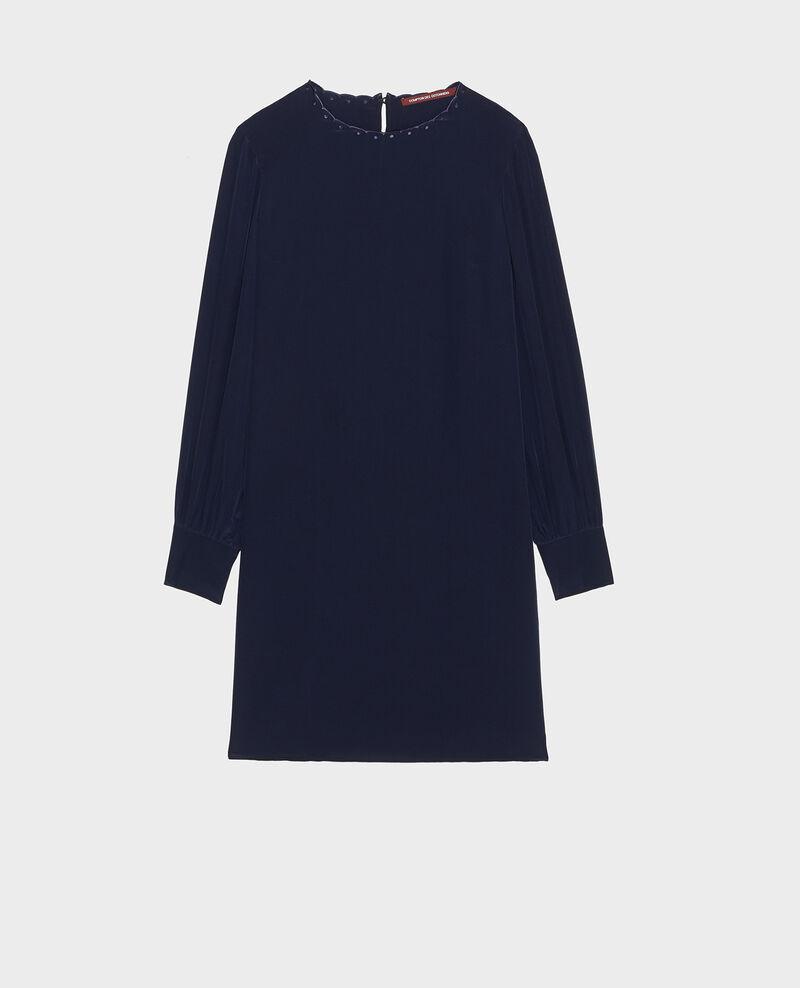 Loose mini silk dress. Maritime blue Lamax