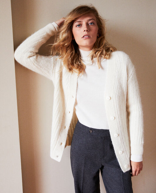Novelty knit cardigan BUTTERCREAM