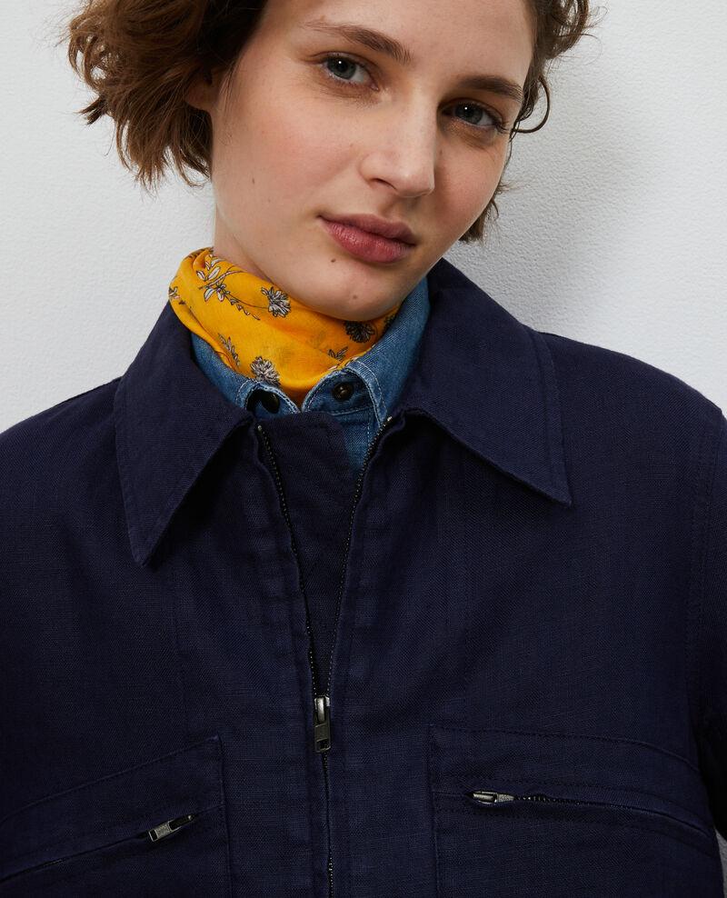Linen zipped jacket Maritime blue Loubajac