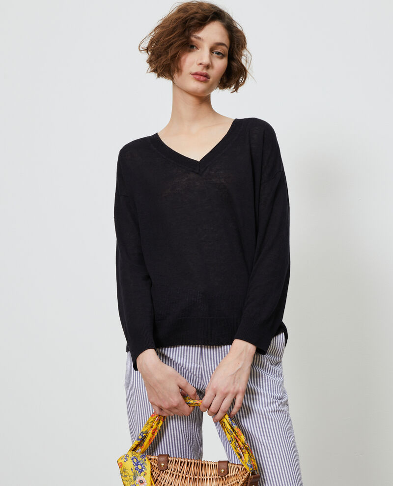 Linen and organic cotton jumper Black beauty Leonotis
