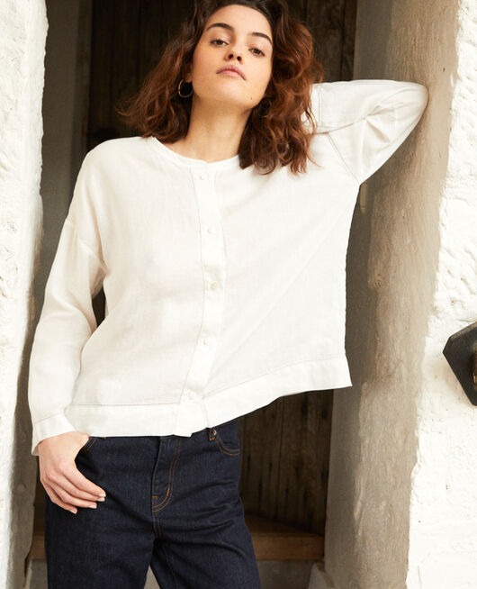 Blouse col mao en lin OFF WHITE
