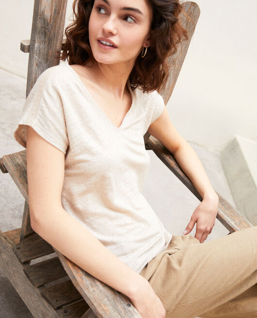 T-shirt with lace NATURAL LINEN