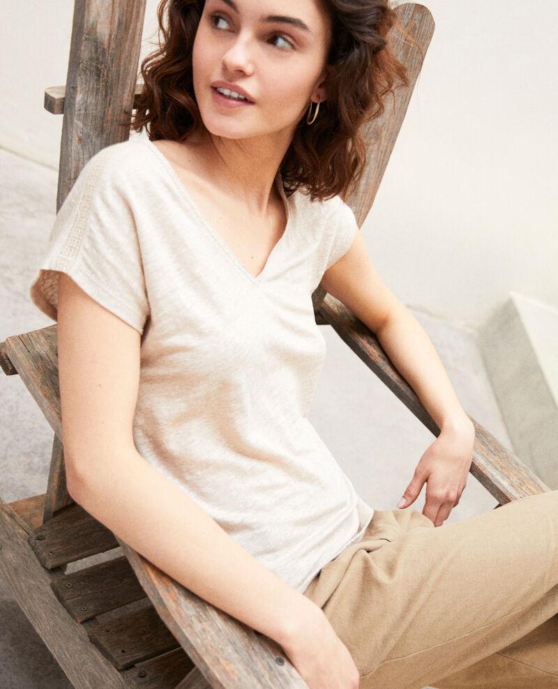 T-shirt with lace Natural linen Itlanta