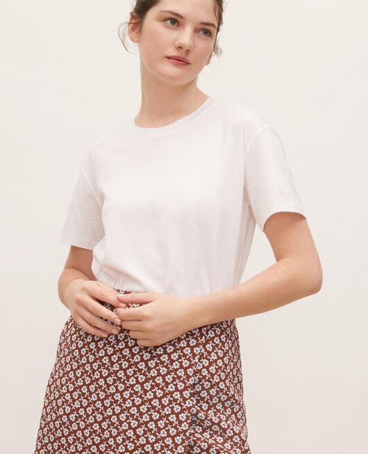 Round neck cotton t-shirt OPTICAL WHITE