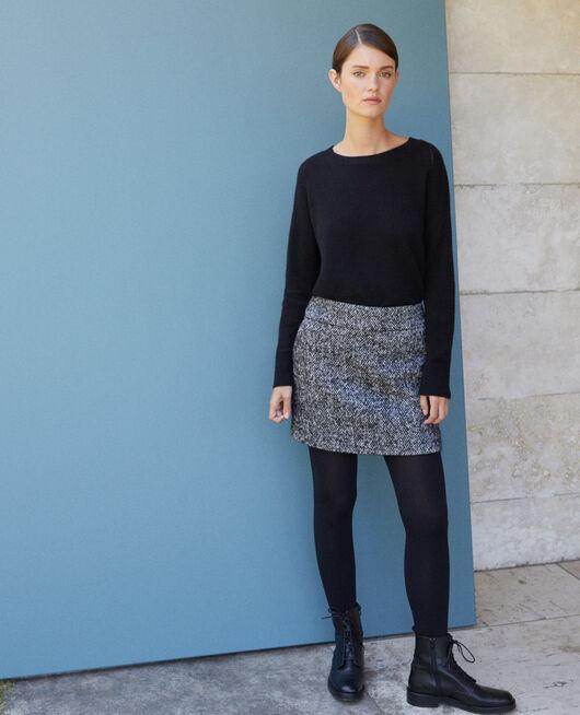 Herringbone mini skirt Black