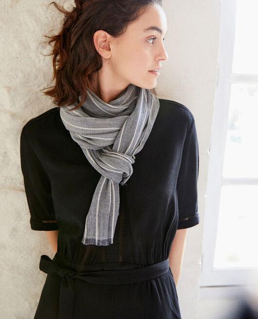 Linen blend scarf BLUE JEANS