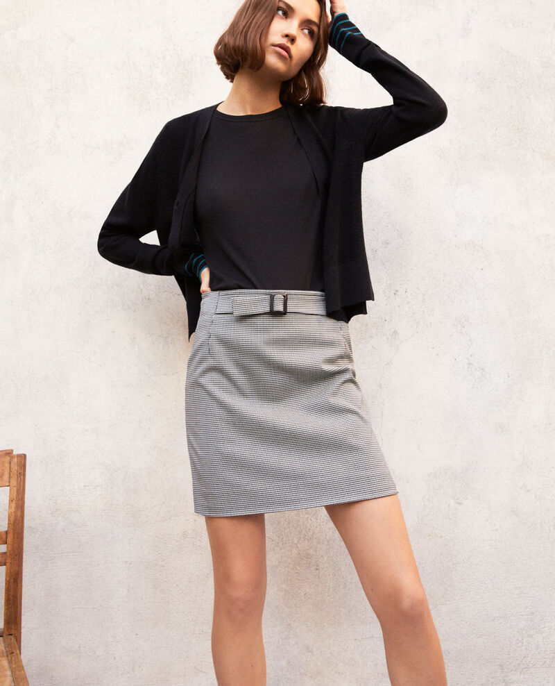 Mini skirt with buckle Champagne/noir Izoupe
