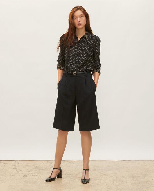 High-waisted wide wool bermuda shorts BLACK BEAUTY