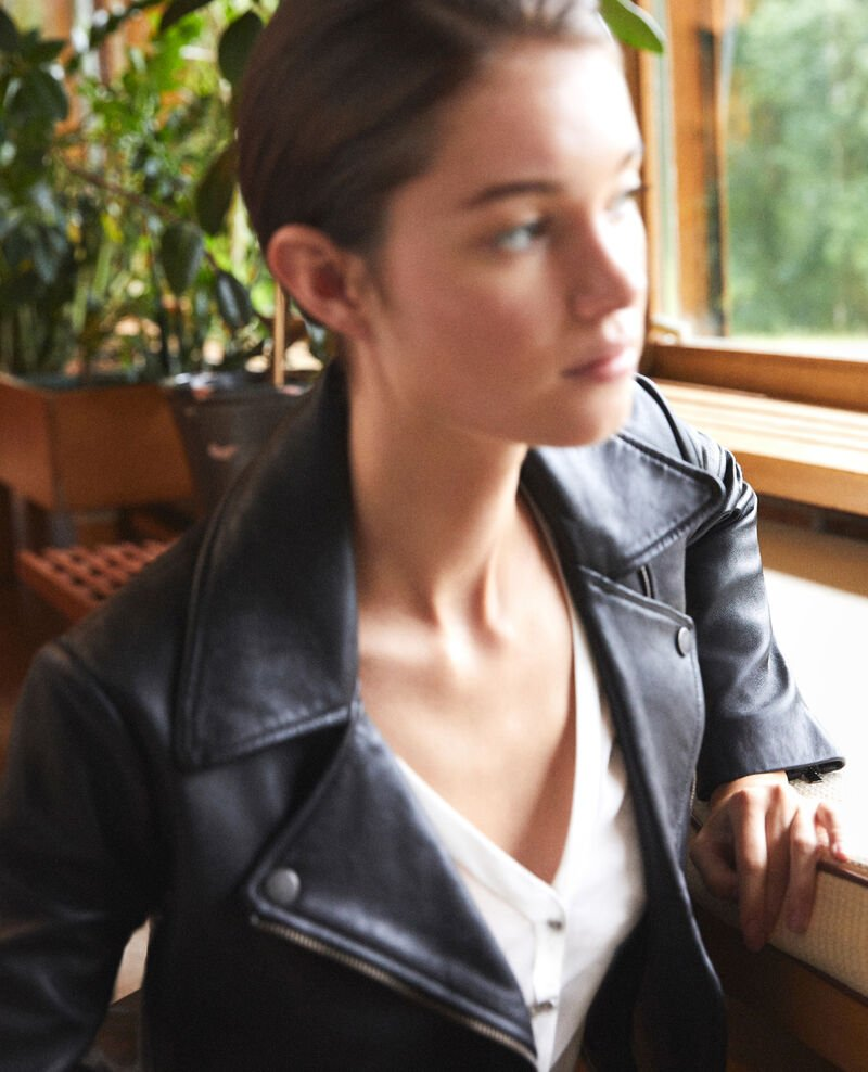 Timeless leather jacket  Black Galaxie
