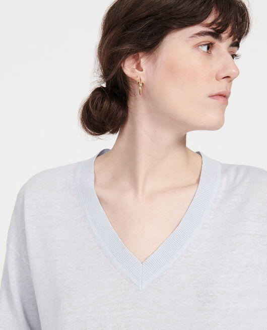 Linen and cotton V-neck jumper HEATHER