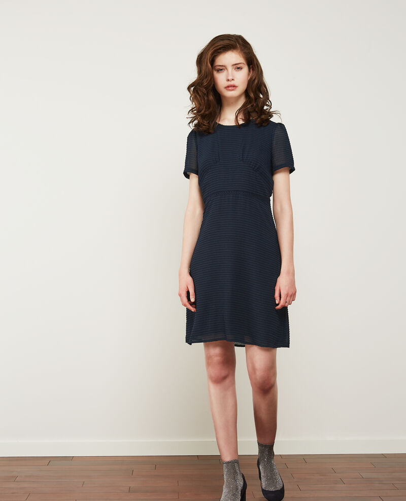Textured Swiss dot dress Navy Diva