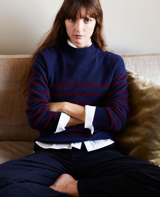 100% Striped cashmere jumper EVENING/CABERNET