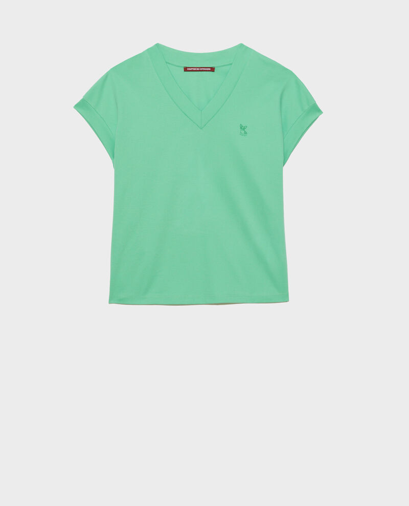 Organic cotton V-neck t-shirt Jade cream Nohant