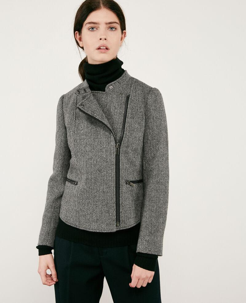 Wool tweed-style biker jacket Medium heather grey Drible