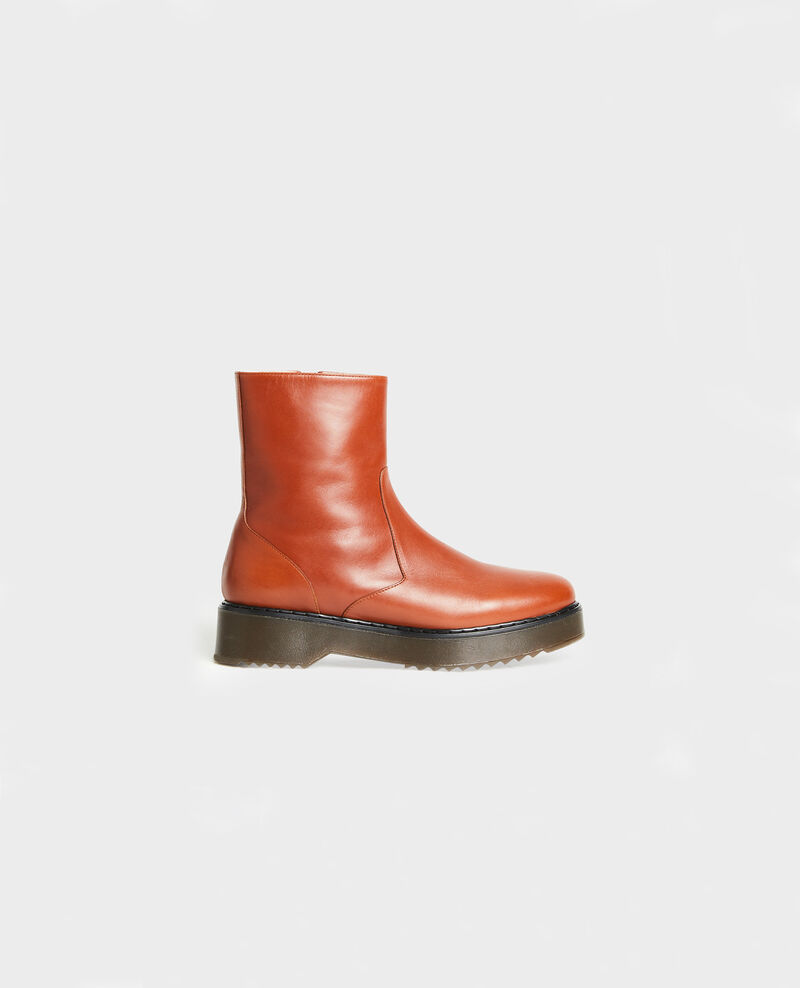 Leather wedge boots Brandy brown Melun