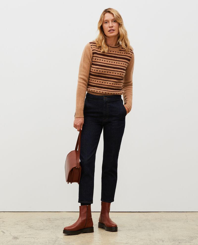Round neck alpaca wool jacquard jumper Jacquard taupe black brandybrown Marolette