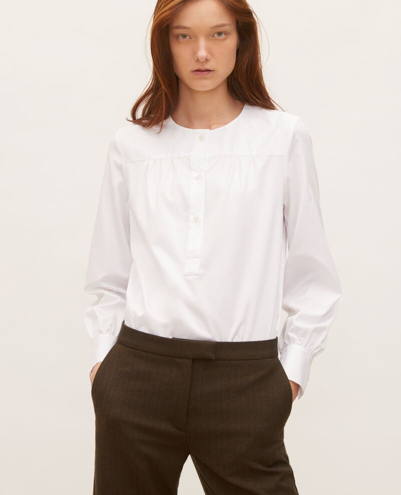 Cotton blouse with removable neck tie Brilliant white Manosque