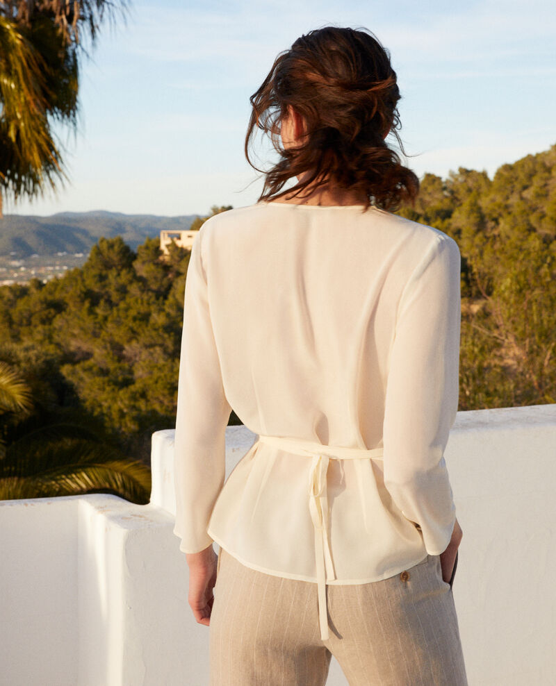Silk wrap blouse Off white Itocoeur