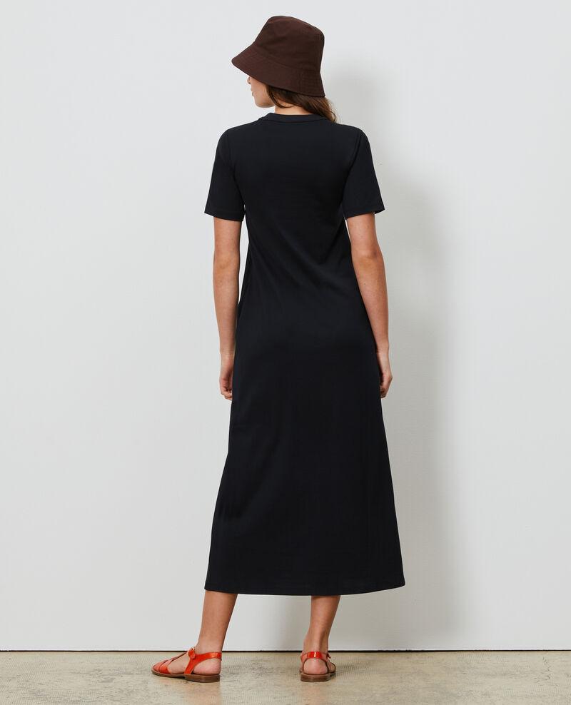 Long cotton dress with round neck Black beauty Larosata